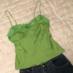 Trina Turk bright green silk lace camisole